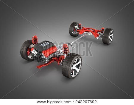 Undercarriage In Detail Suspension Of The Car With Wheel And Engine Isolated On Black Gradient Backg