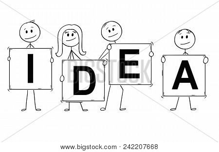 Cartoon Stick Man Drawing Conceptual Illustration Of Businessmen And Businesswomen Holding Signs Wit
