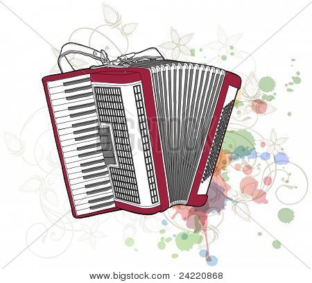 Concert Accordion & floral calligraphy ornament - a stylized orchid, color paint background. Bitmap copy my vector ID 70645906