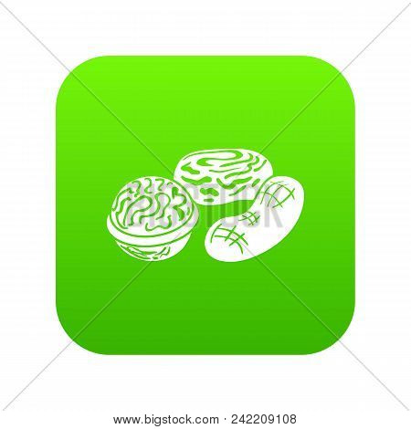Nuts Icon Green Vector Isolated On White Background