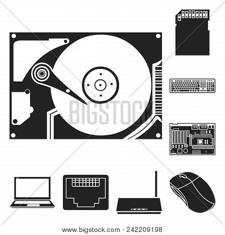 Personal Computer Black Icons In Set Collection For Design. Equipment And Accessories Vector Symbol
