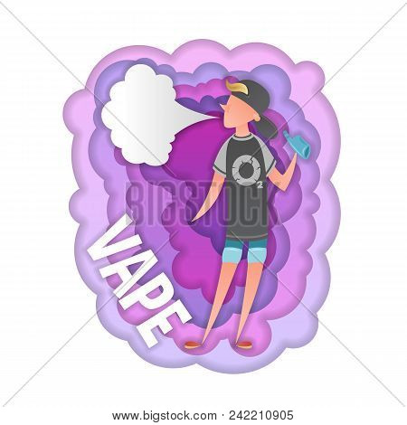 Color Vector Cartoon Character Smokes A Vape. Background Isolated Abstract Colored Smoke. Paper Art