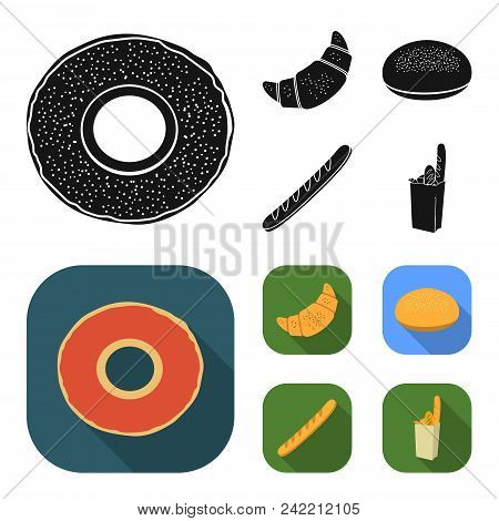 Rye Round Bread, A Croissant, A French Loaf, A Bag Of Bread.bread Set Collection Icons In Black, Fla