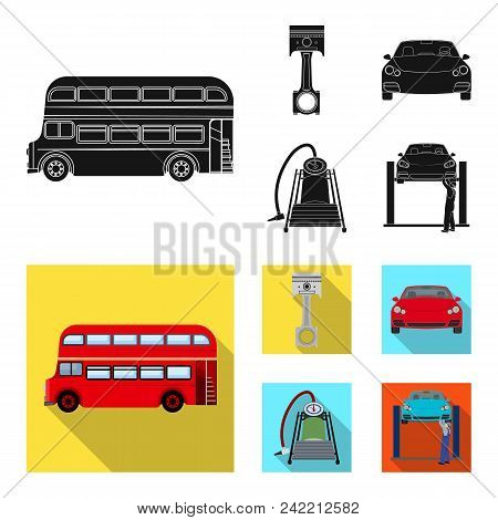 Car On Lift, Piston And Pump Black, Flat Icons In Set Collection For Design.car Maintenance Station