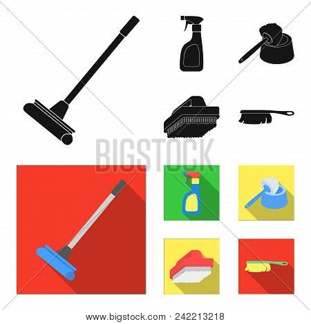 Cleaning And Maid Black, Flat Icons In Set Collection For Design. Equipment For Cleaning Vector Symb