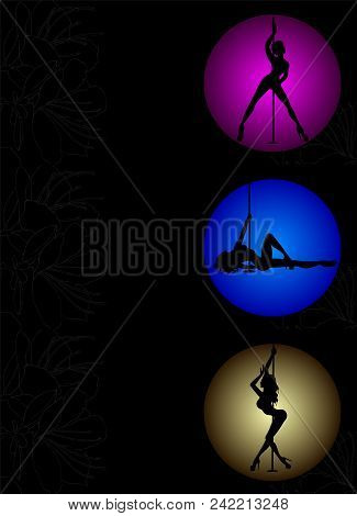 Set Of Three Flyers With Vector Silhouette Pole Dance Exotic On A Magenta, Blue, Yellow Circle. Pole