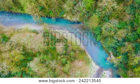 Top-down Drone View Of Canyon And Khosta River In Yew And Box-tree Grove In Spring Day, Sochi, Russi