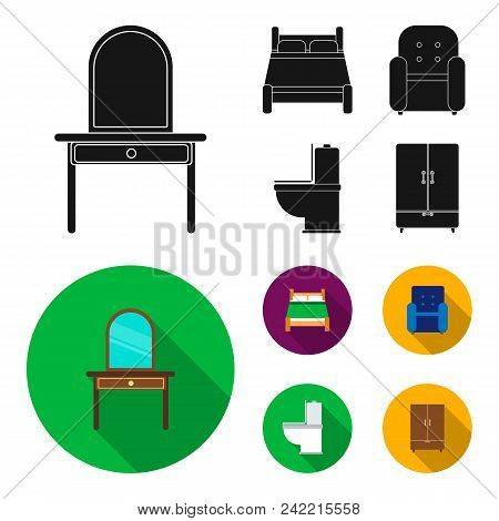 A Bed, An Armchair, A Toilet, A Wardrobe.furniturefurniture Set Collection Icons In Black, Flat Styl