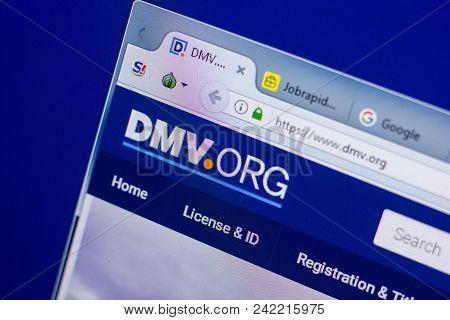 Ryazan, Russia - May 20, 2018: Homepage Of Dmv Website On The Display Of Pc, Url - Dmv.org