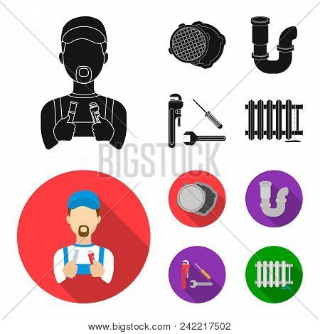 Sewage Hatch, Tool, Radiator.plumbing Set Collection Icons In Black, Flat Style Vector Symbol Stock