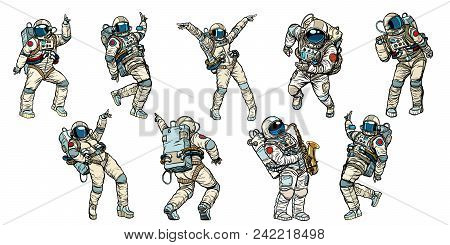 Set Of Dancing Astronauts Collection. Comic Book Cartoon Pop Art Retro Vector Illustration Vintage K