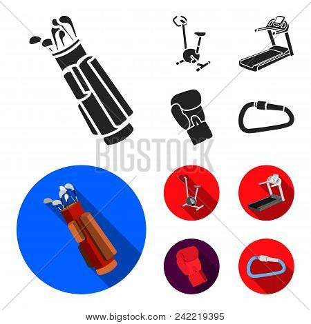 Exercise Bike, Treadmill, Glove Boxer, Lock. Sport Set Collection Icons In Black, Flat Style Vector