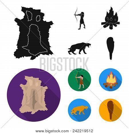 Man, Hunter, Onion, Bonfire .stone Age Set Collection Icons In Black, Flat Style Vector Symbol Stock