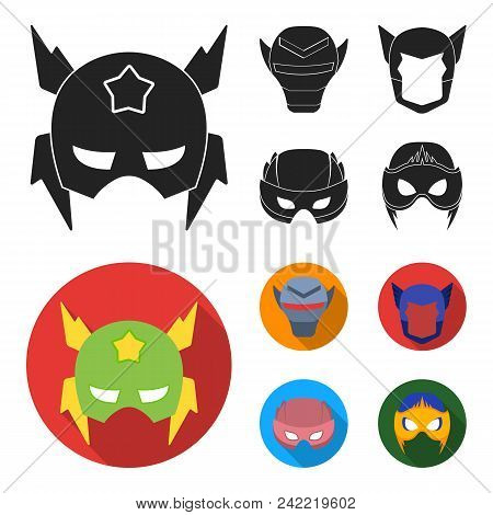 Helmet, Mask On The Head.mask Super Hero Set Collection Icons In Black, Flat Style Vector Symbol Sto