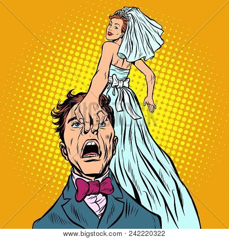Bride Drags The Groom With Her. Pop Art Retro Vector Illustration Kitsch Vintage