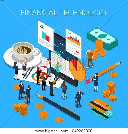 Financial Technology Isometric Composition With Business Persons, Money, Economy Reports, Mobile Dev