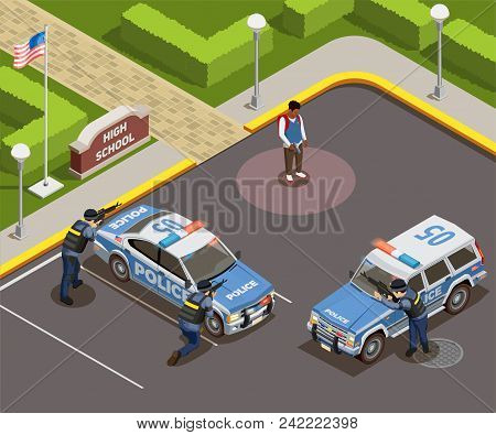 High School Isometric People Composition Of Outdoor Police Cordon With Cars Armed Policemen And Kill