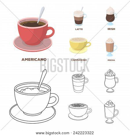 American, Late, Irish, Cappuccino.different Types Of Coffee Set Collection Icons In Cartoon, Outline