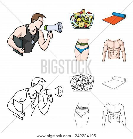 Personal Trainer, Fruit Salad, Mat, Female Waist. Fitnes Set Collection Icons In Cartoon, Outline St