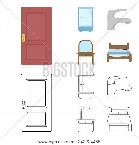 Door, Shower Cubicle, Mirror With Drawers, Faucet.furnitureset Collection Icons In Cartoon, Outline