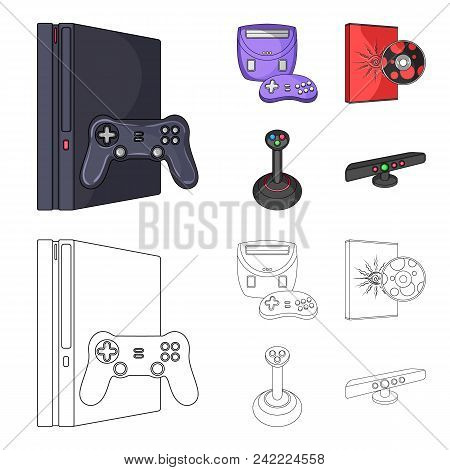 Game Console, Joystick And Disc Cartoon, Outline Icons In Set Collection For Design.game Gadgets Vec