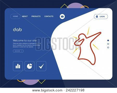 Quality One Page Dab Website Template Vector Eps, Modern Web Design With Flat Ui Elements And Landsc