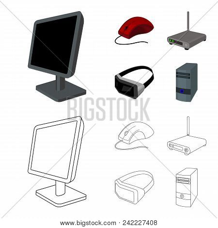 Monitor, Mouse And Other Equipment. Personal Computer Set Collection Icons In Cartoon, Outline Style