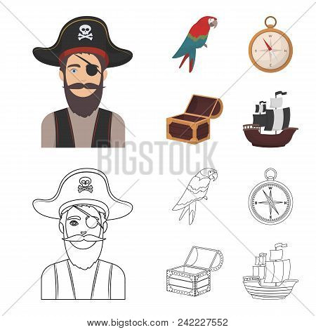 Pirate, Bandit, Hat, Bandage .pirates Set Collection Icons In Cartoon, Outline Style Vector Symbol S