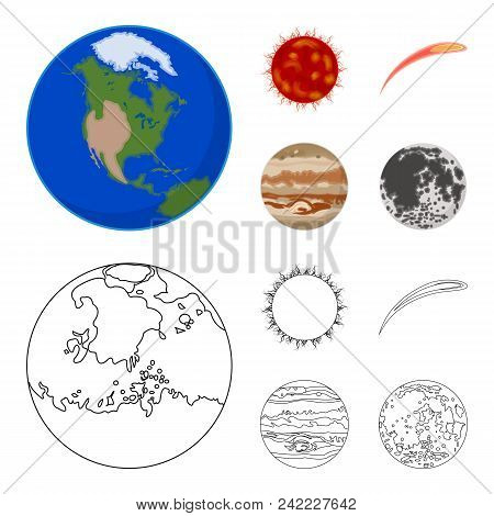 Earth, Jupiter, The Sun Of The Planet Of The Solar System. Asteroid, Meteorite. Planets Set Collecti