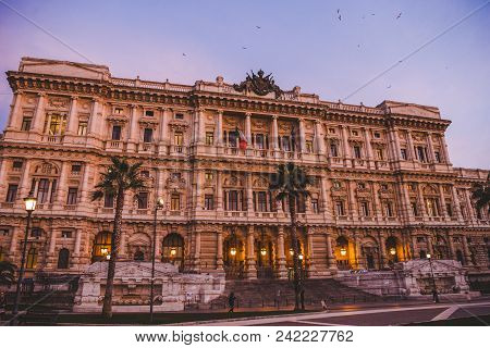 Rome, Italy - 10 March 2018: Facade Of Court Of Cassation At Rome On Sunset