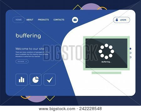 Quality One Page Buffering Website Template Vector Eps, Modern Web Design With Flat Ui Elements And