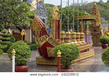 Preah Promaeath Pagoda In Siem Reap, Cambodia. Wooden Boat Decor. Buddhist Temple In Southeast Asia.