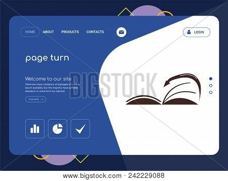 Quality One Page Page Turn Website Template Vector Eps, Modern Web Design With Flat Ui Elements And