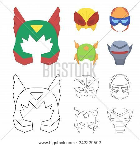 Mask On The Head, Helmet.mask Super Hero Set Collection Icons In Cartoon, Outline Style Vector Symbo