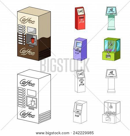 Coffee Machine, Atm, Information Terminal. Terminals Set Collection Icons In Cartoon, Outline Style