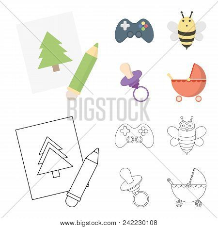Picture, Dzhostik, Bee, Nipple.toys Set Collection Icons In Cartoon, Outline Style Vector Symbol Sto