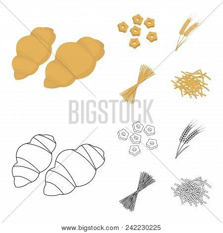 Different Types Of Pasta. Types Of Pasta Set Collection Icons In Cartoon, Outline Style Vector Symbo