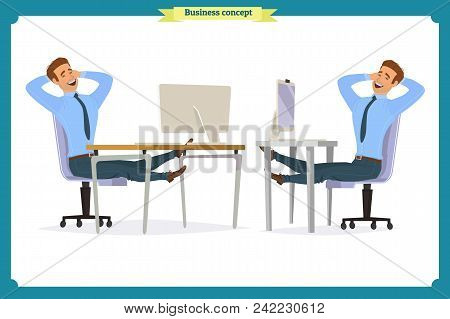 Business People Poses Action Character Vector Design.businessman Consulting , Concepts Of Client Ser