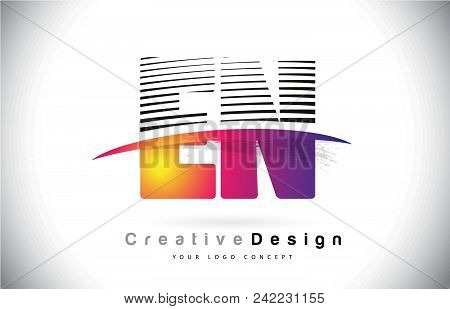 En E N Letter Logo Design With Creative Lines And Swosh In Purple Brush Color Vector Illustration.