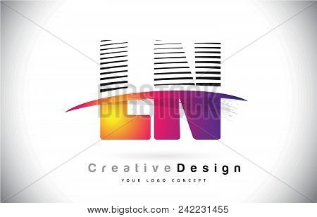 Ln L N Letter Logo Design With Creative Lines And Swosh In Purple Brush Color Vector Illustration.