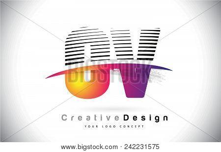 Ov O V Letter Logo Design With Creative Lines And Swosh In Purple Brush Color Vector Illustration.