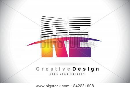 Re R E Letter Logo Design With Creative Lines And Swosh In Purple Brush Color Vector Illustration.