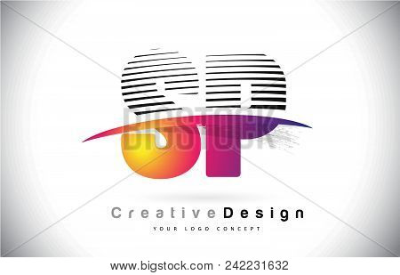 Sp S P Letter Logo Design With Creative Lines And Swosh In Purple Brush Color Vector Illustration.