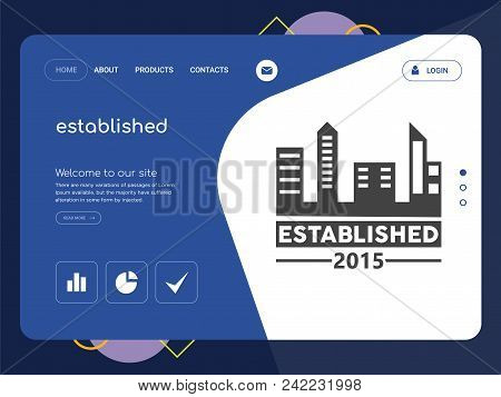 Quality One Page Established Website Template Vector Eps, Modern Web Design With Flat Ui Elements An