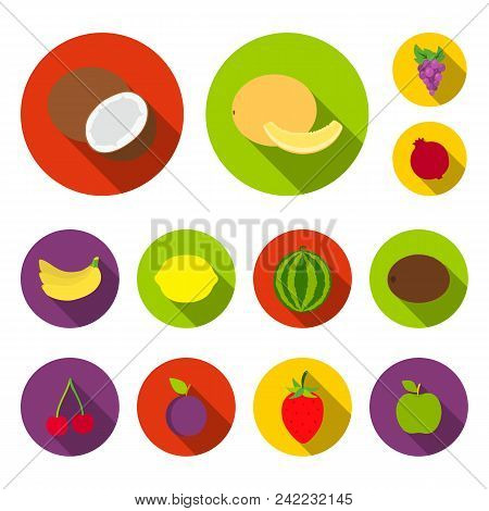 Different Fruits Flat Icons In Set Collection For Design. Fruits And Vitamins Vector Symbol Stock  I