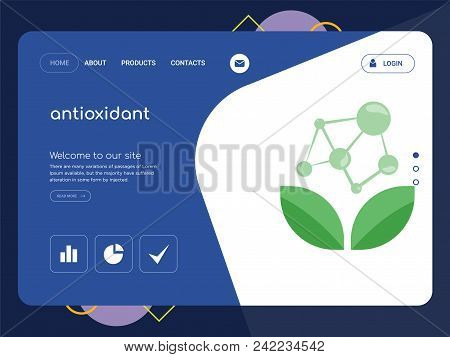 Quality One Page Antioxidant Website Template Vector Eps, Modern Web Design With Flat Ui Elements An