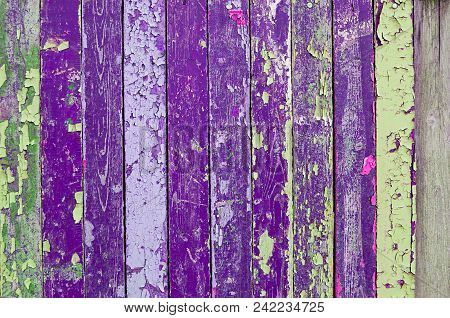 Textured Wooden Background With Weathered Painted Multicolor Texture Surface Covered With Peeling Pa