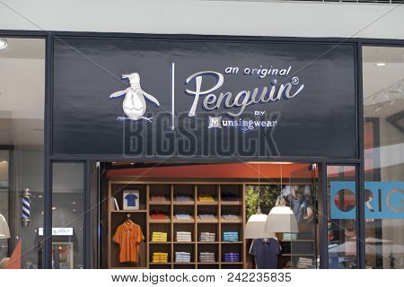 Manila, Philippines, 22 March 2018: Penguin Brand Name On Storefront In Sm Mall Of Asia Shopping Mal