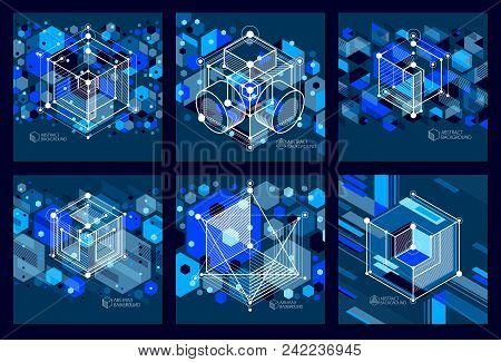 Engineering Technology Vector Dark Blue Backdrops Set Made With 3d Cubes And Lines. Engineering Tech