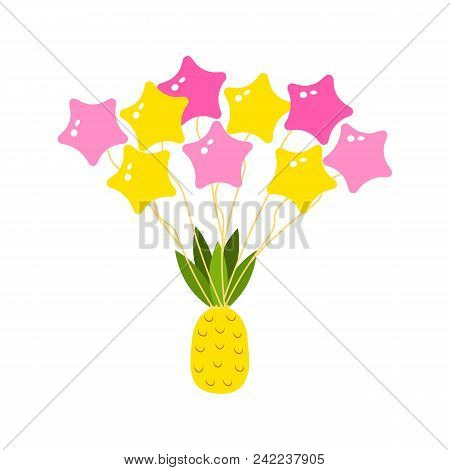 Tropical Pineapple And Balls In The Sky Are Flying. Citrus Vegetarian Food. Cute Sticker For Girls